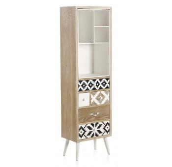 Estantería mueble Arme 5 cajones madera blanco y negro