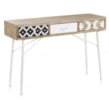 Mueble Televisión Arme 2 cajones madera blanco y negro