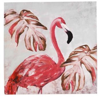 Cuadro lienzo cuadrado pintado a mano hojas Flamenco rosa