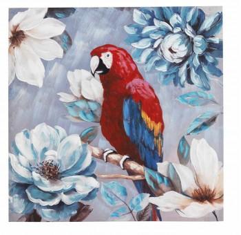 Cuadro lienzo cuadrado pintado a mano Loro rojo