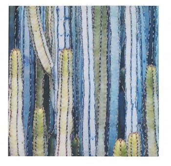 Cuadro lienzo cuadrado pintado a mano paisaje Cactus