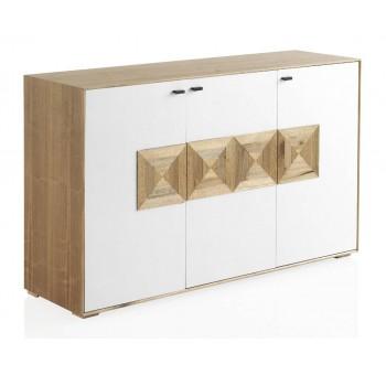 Aparador Cluas 3 puertas madera natural y blanco nórdico