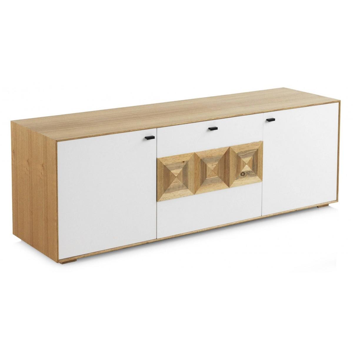 Mueble tv cluas 2 puertas madera natural y blanco n rdico - Muebles madera natural ...