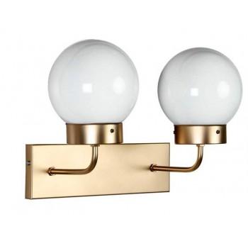 Aplique pared doble Atomo Art Decó metal dorado traslúcida