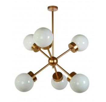 Lámpara techo Atomo Decó 6 brazos metal dorado traslúcido