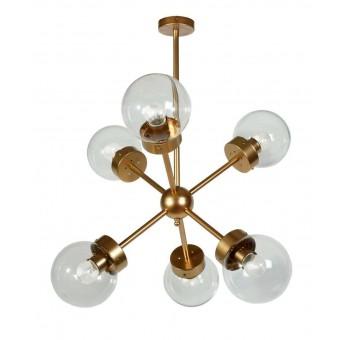 Lámpara techo Atomo Decó 6 brazos metal dorado transparente