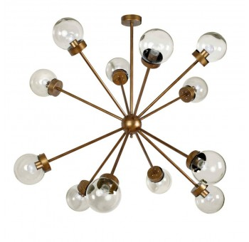 Lámpara techo Atomo Decó 12 brazos metal dorado transparente