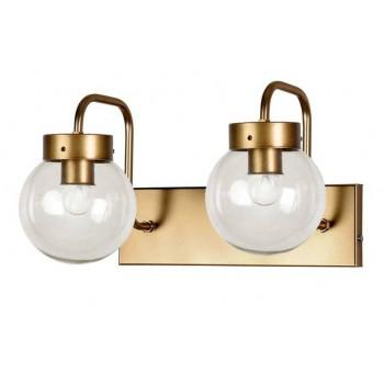 Aplique pared doble Atomo Art Decó metal dorado transparente