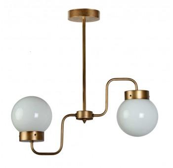 Lámpara techo 2 brazos metal oro viejo globos cristal traslúcido