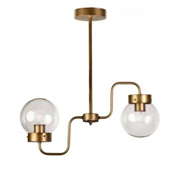 Lámpara techo 2 brazos metal oro viejo globos cristal transparente