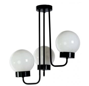 Lámpara techo 3 brazos metal negra globos cristal traslúcidos