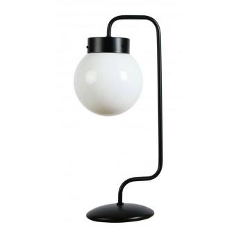 Lámpara sobremesa 1 brazo metal negro globos cristal traslúcidos