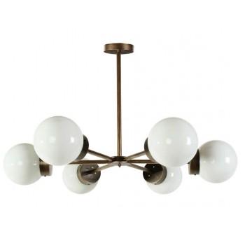 Lámpara techo Star 6 brazos metal oro viejo globos cristal traslúcido
