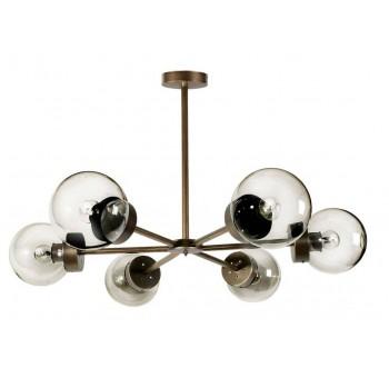 Lámpara techo Star 6 brazos metal oro viejo globos cristal transparente