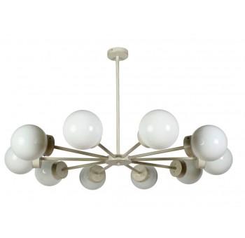 Lámpara techo Star 10 brazos metal blanco globos cristal traslúcido