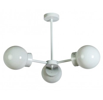 Lámpara techo Star 3 brazos metal blanco globos cristal traslúcido