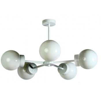 Lámpara techo Star 5 brazos metal blanco globos cristal traslúcido