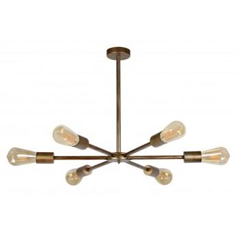 Lámpara techo Star 6 brazos metal oro viejo