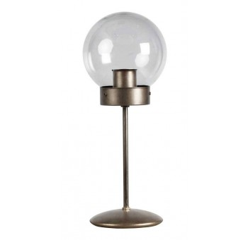 Lámpara de mesa Atomo Art Decó plata vieja transparente