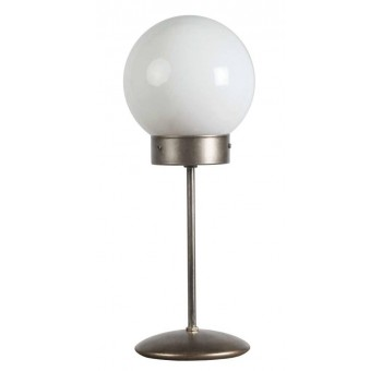 Lámpara de mesa Atomo Art Decó plateada traslúcida