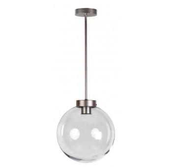 Lámpara de techo Atomo Art Decó plata vieja globo cristal transparente
