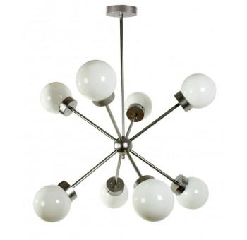 Lámpara techo Atomo Decó 10 brazos metal plata globos cristal traslúcidos