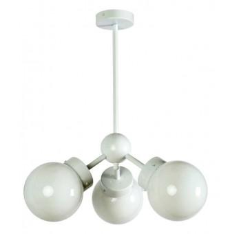 Lámpara techo Atomo Decó 3 brazos metal blanco globos cristal traslúcidos