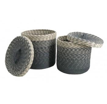 Set 2 cestas con tapa yute azul y crema