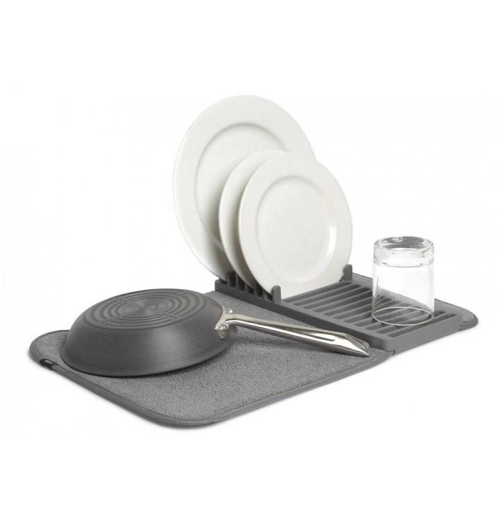 Escurridor platos vajilla cocina plegable gris pequeño