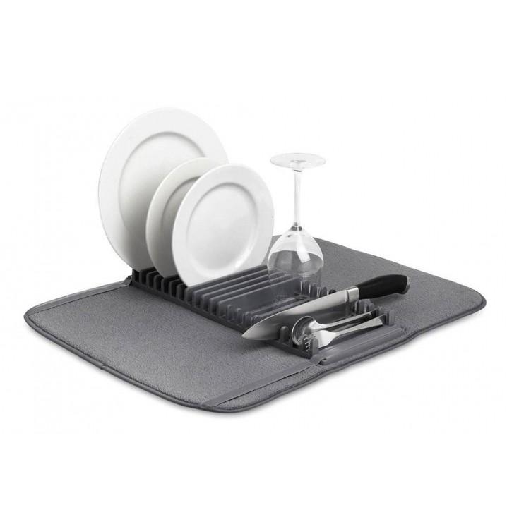 Escurridor platos vajilla cocina plegable gris grande