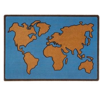 Felpudo puerta Mapa Mundi azul