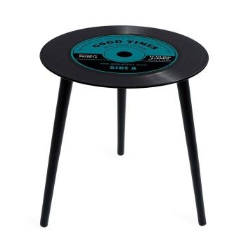 Mesa auxiliar Disco de Vinilo cristal azul