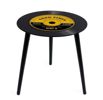 Mesa auxiliar Disco de Vinilo cristal amarilla